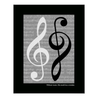 wall music treble-clef poster