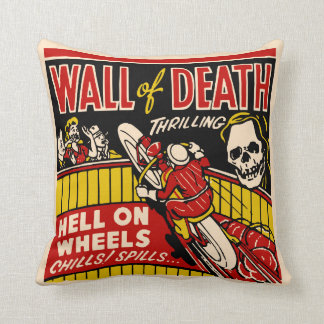 """Wall of Death"" Vintage Motorcycle Racing Throw Pillow"