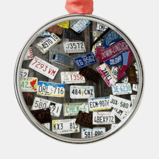 Wall of License Plates Metal Ornament