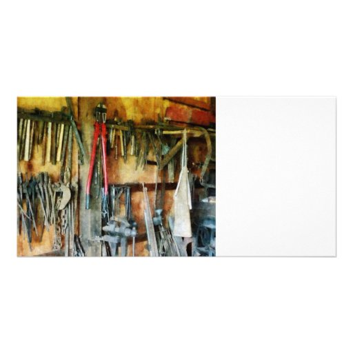 Wall of Tools and Shop Apron Personalized Photo Card