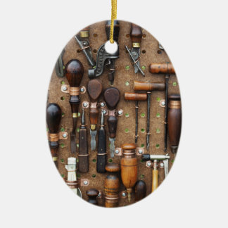 Wall of Work Tools - Industrial Print Ceramic Oval Ornament