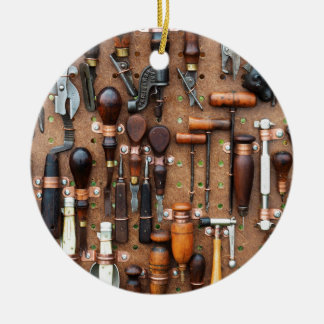 Wall of Work Tools - Industrial Print Round Ceramic Ornament