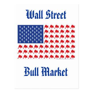 Wall Street Bull Market American Flag Postcard