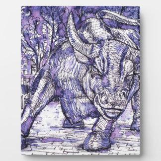 wall street bull plaque