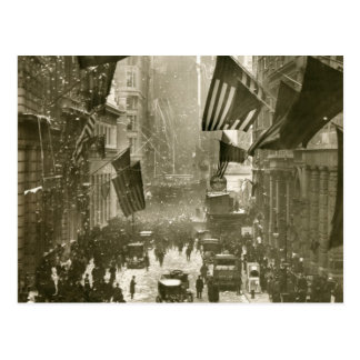 Wall Street Party, end of WW1, 1918 Postcard