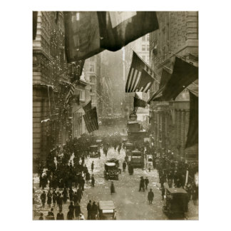Wall Street Party, End of WW1, 1918 Poster