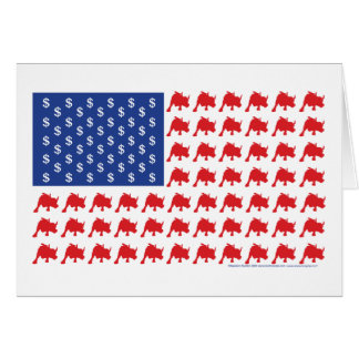 Wall Street Patriotic American Flag Card