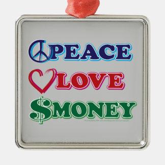 Wall Street/Peace Love Money Metal Ornament