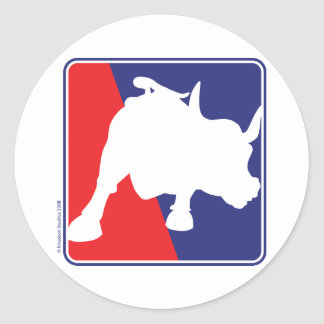 Wall Street Red White and Blue Bull Classic Round Sticker