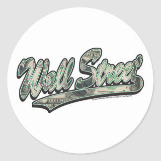 Wall-Street-Script-In-Bill Classic Round Sticker