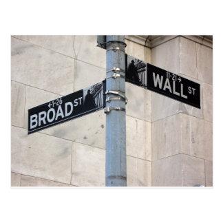Wall Street Sign New York City Postcard