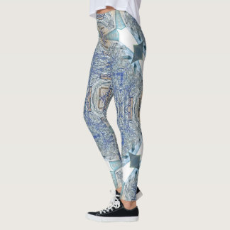 Wall Vines Blue Geometric Leggings