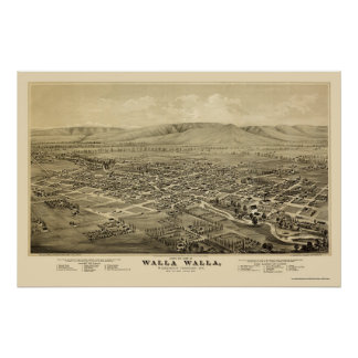 Walla Walla, WA Panoramic Map - 1876 Poster