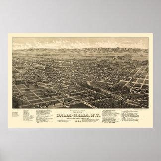 Walla Walla, WA Panoramic Map - 1884 Poster