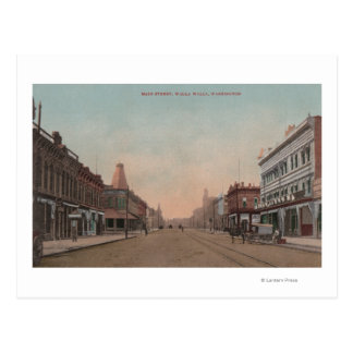 Walla Walla, WA - View of Main St. Postcard