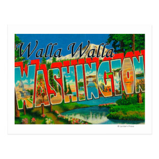 Walla Walla, Washington - Large Letter Scenes Postcard