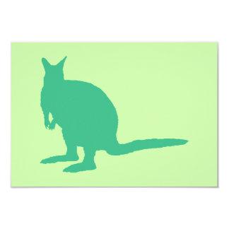 "Wallaby. Animal in Green. 3.5"" X 5"" Invitation Card"