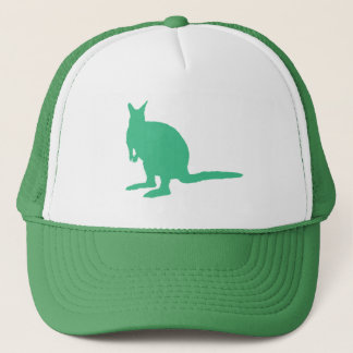 Wallaby. Animal in Green. Trucker Hat