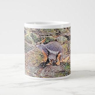 Wallaby colored sketch style camo jumbo mug