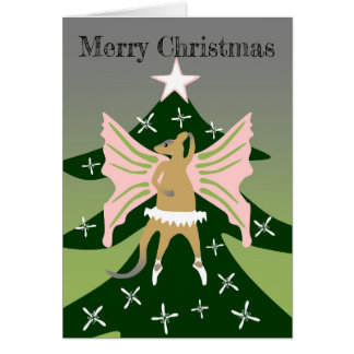 Wallaby on top of the Christmas tree Card