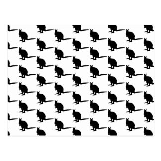 Wallaby Pattern. Black and White. Postcard