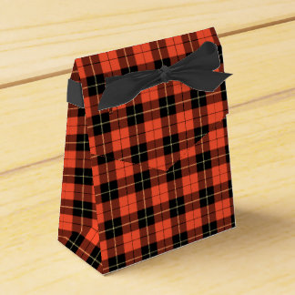 Wallace Clan Coral and Black Ancient Tartan Favor Box