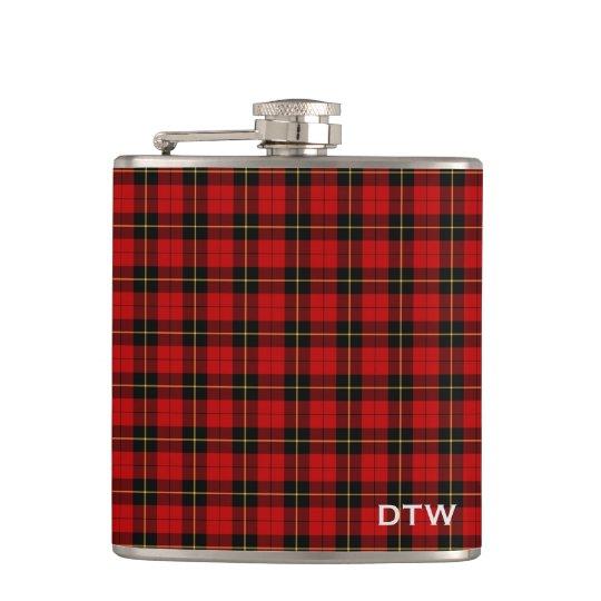 Wallace Clan Tartan Red and Black Plaid Monogram Hip Flask