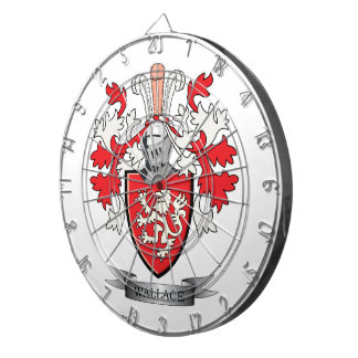 Wallace Family Crest Coat of Arms Dartboard