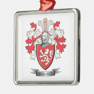 Wallace Family Crest Coat of Arms Silver-Colored Square Ornament