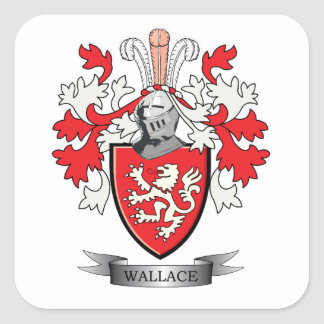 Wallace Family Crest Coat of Arms Square Sticker