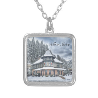 Wallace Idaho Depot in Winter Silver Plated Necklace