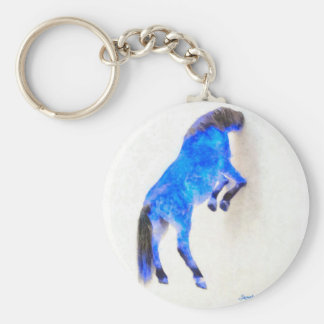 Walled Blue Horse Basic Round Button Keychain
