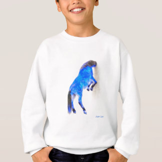 Walled Blue Horse - Watercolor over paper Sweatshirt