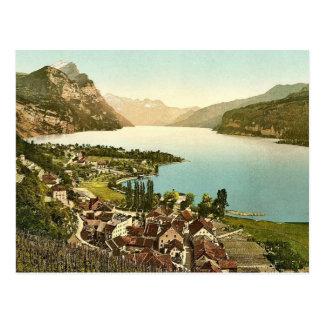 Wallenstadt Lake, Weesen, near Leistkamm and view Postcard