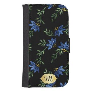 Wallet Case - Elegant Blue Glitter Floral Design Galaxy S4 Wallet Cases