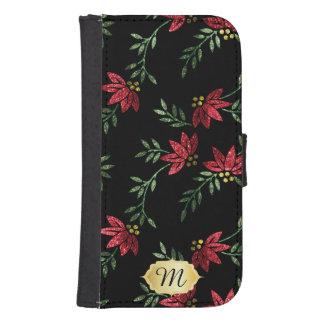 Wallet Case - Elegant Red Glitter Floral Design Phone Wallet Case