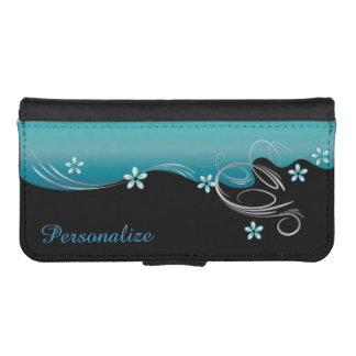 Wallet Case - Floral Florid Turquoise Design