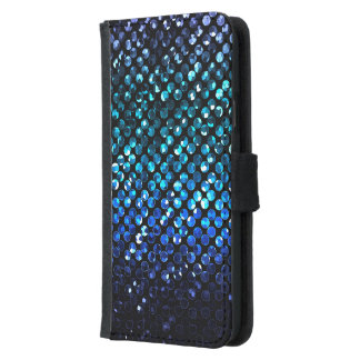 Wallet Case Samsung S5 Blue Crystal Bling Strass