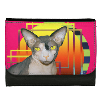 Wallet | Sphynx Cat on Abstract Geometric Pink