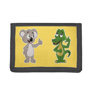 Wallet with koala bear and alligator cartoon