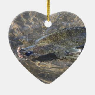 Walleye Caught Ceramic Heart Ornament