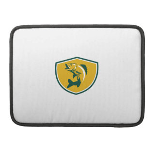 Walleye Fish Jumping Crest Retro MacBook Pro Sleeves
