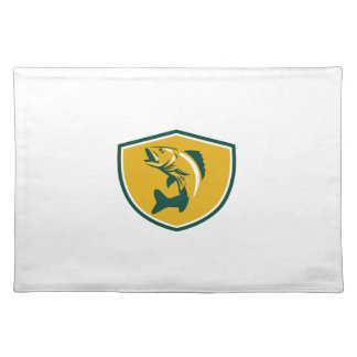 Walleye Fish Jumping Crest Retro Placemat