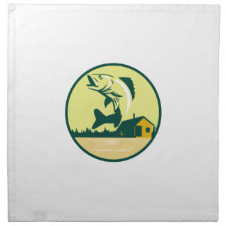 Walleye Fish Lake Lodge Cabin Circle Retro Cloth Napkins