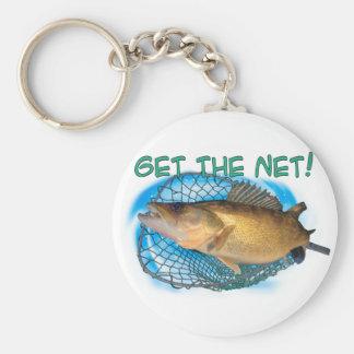 Walleye fishing net basic round button keychain