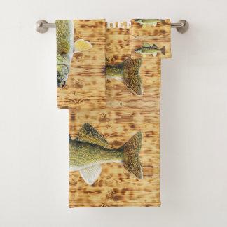 Walleye Pikes on Wooden Boards Bath Towel Set