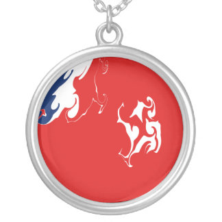 Wallis and Futuna Gnarly Flag Round Pendant Necklace