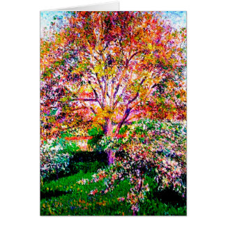 Wallnut And Apple Trees In Bloom Camille Pissarro Card