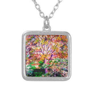 Wallnut And Apple Trees In Bloom Camille Pissarro Silver Plated Necklace