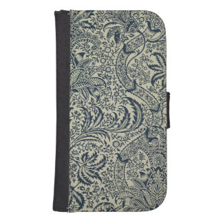 Wallpaper with navy blue seaweed style design galaxy s4 wallet cases
